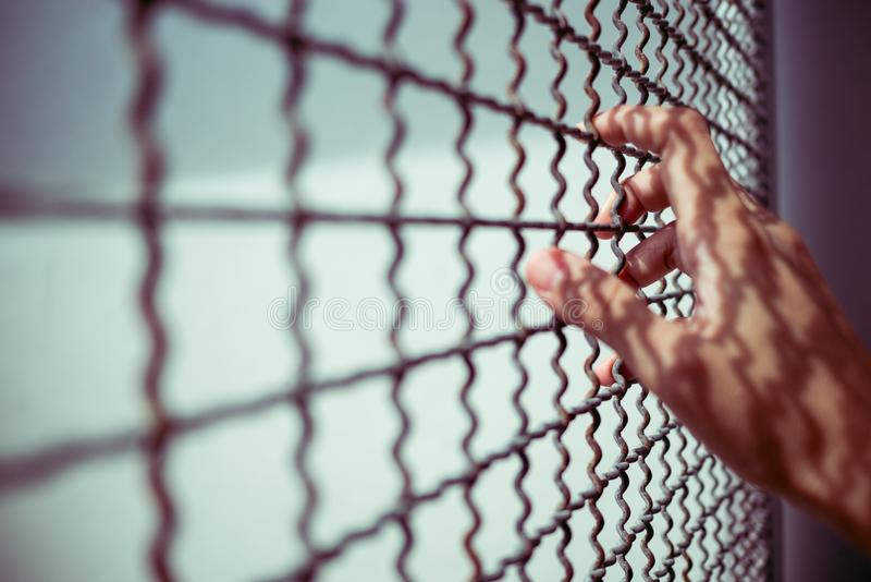 Hand des Gefangenen rustikalen Metallzaun mit Musterschatten, kriminelles verschlossenes halten im Gefängnis, Traum des Freiheits stockbild