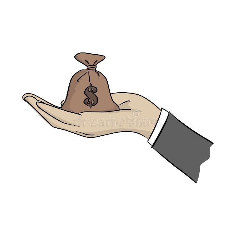 Hand des Geschäftsmannes Geldtaschen-Vektorillustration mit den schwarzen Linien halten lokalisiert auf weißem Hintergrund stock abbildung