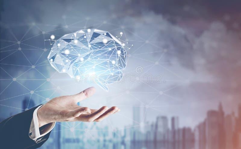 Hand des Geschäftsmannes Gehirnhologramm, Stadt halten lizenzfreie stockbilder