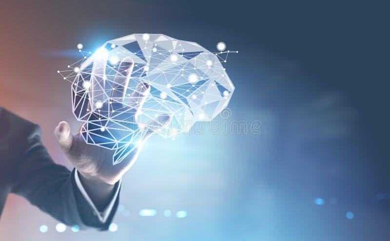 Hand des Geschäftsmannes s, Gehirnhologramm lizenzfreies stockbild
