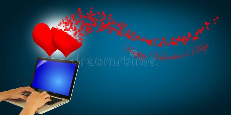 Hand des Geschäftsmannes senden den Valentinstag GR vektor abbildung