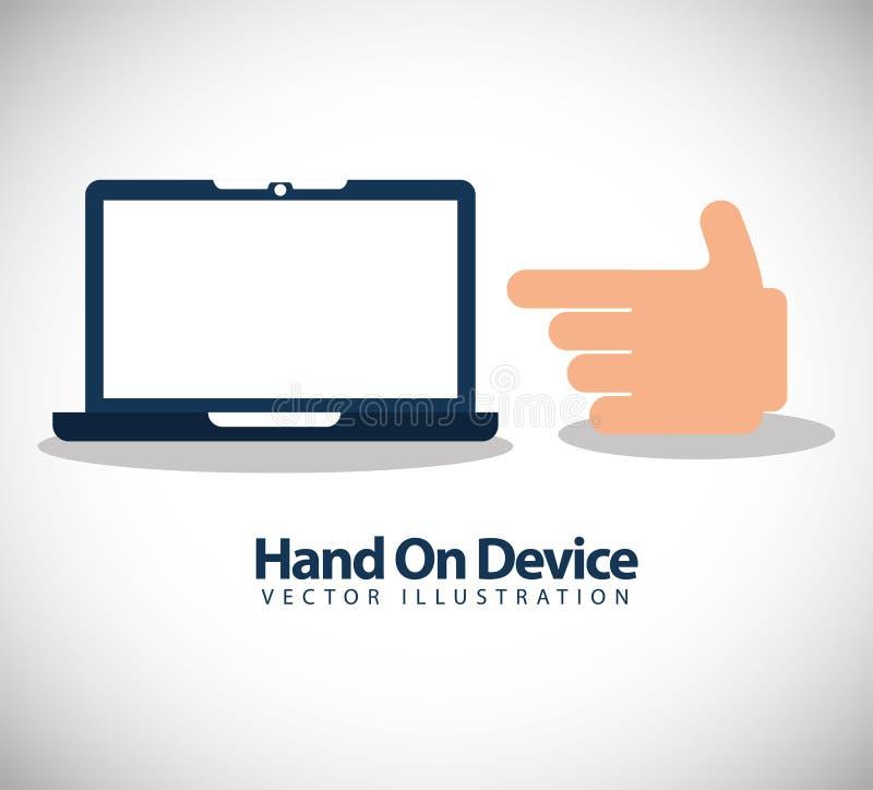 Hand on device design. Illustration eps10 graphic stock illustration