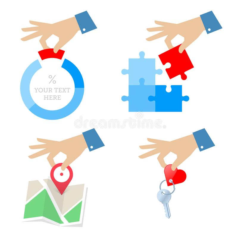 A hand with diagram, puzzle piece, navigation map, home key. royalty free illustration