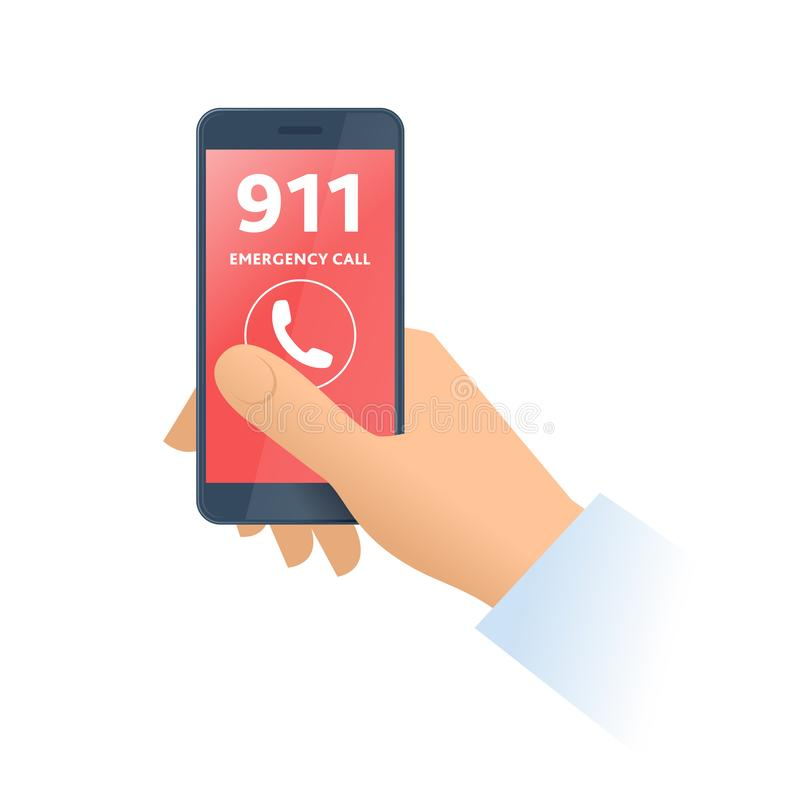 A hand dials 911 number on the phone. Flat illustration. royalty free illustration