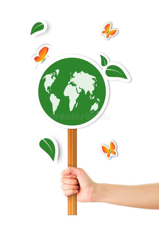 Hand, die ökologisches Zeichen hält stock abbildung