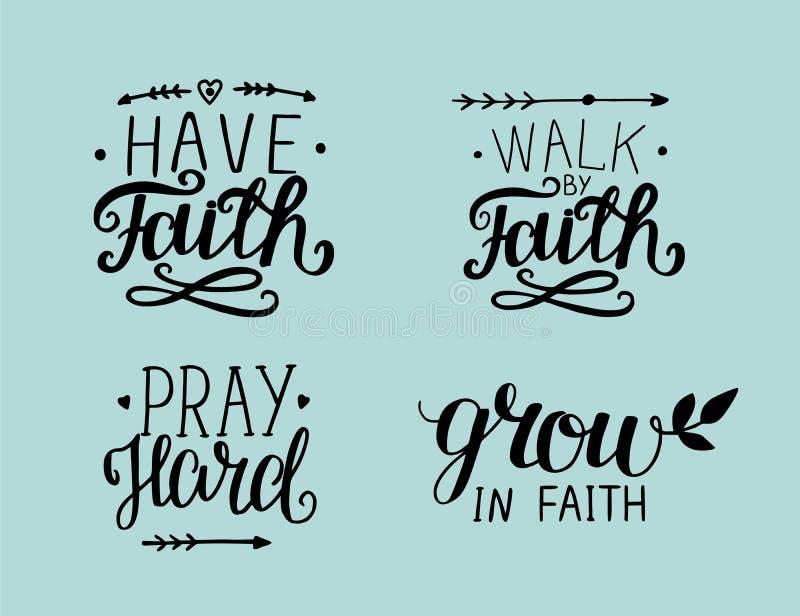 Hand 4, die über Glauben beschriftet lizenzfreie abbildung