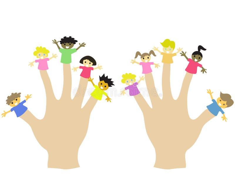 Hand die 10 marionetten van vingerkinderen draagt royalty-vrije illustratie