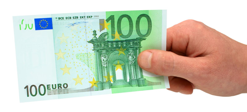 Hand die 100 euro houdt stock afbeeldingen