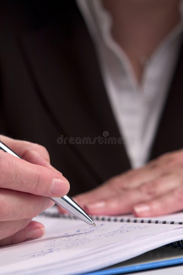 Hand die 6 schrijft stock afbeeldingen