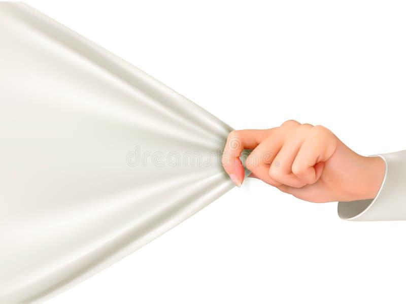 Hand die aan een witte doek met ruimte voor tekst trekken stock illustratie