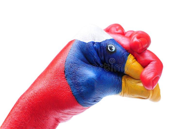 Hand die als vogels wordt geschilderd stock fotografie