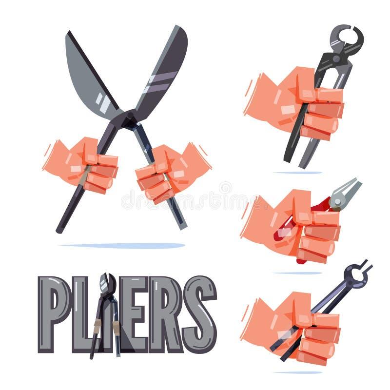 Hand, die Art von Zangen hält Hand- und Werkzeugkonzept - Illustration lizenzfreie abbildung