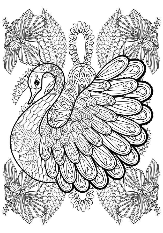 Hand die artistieke Zwaan in bloemen voor volwassen kleurende pagina's trekken vector illustratie