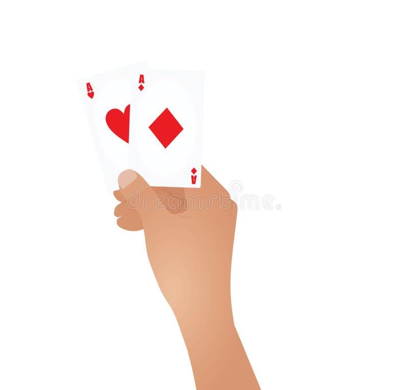 Hand, die Asse hält stock abbildung