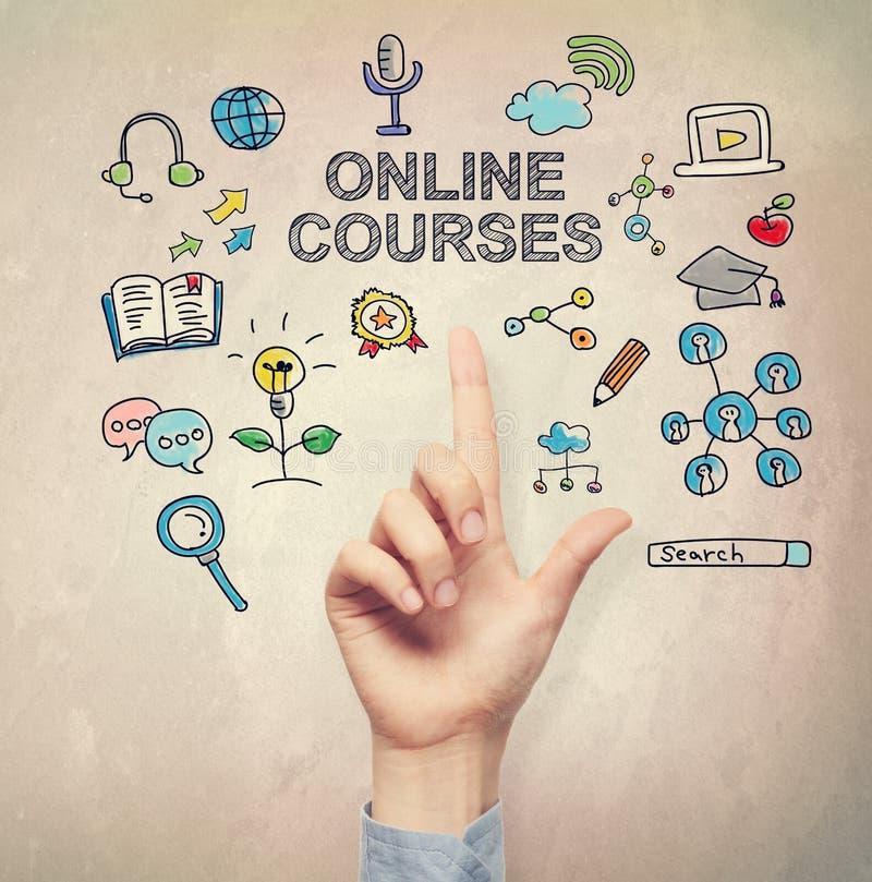 Hand, die auf on-line-Kurskonzept zeigt stockfotos