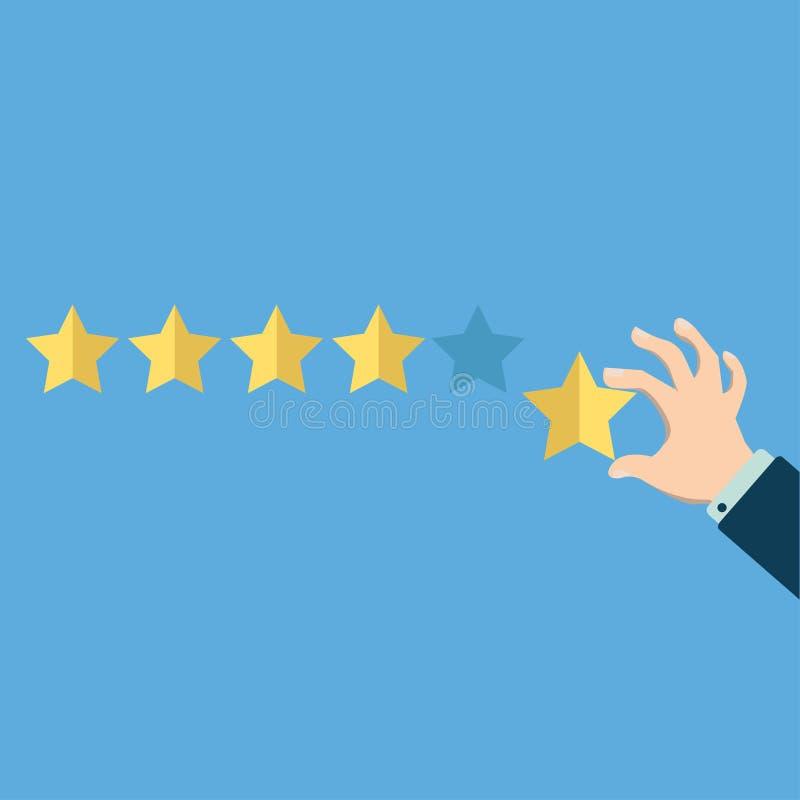 Hand, die bei einem von fünf Sternen zeigt Bewertungs-, Bewertungs-, Erfolgs-, Feedback-, Bericht-, Qualitäts- und Managementkonz vektor abbildung