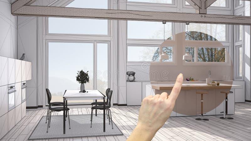 Hand die binnenlands ontwerpproject, het detail van het huisproject richten, beslissend over ruimten die of concept, woonkamer le stock afbeelding