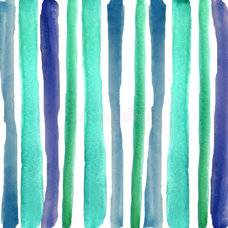 Hand, die blaue Streifen des Aquarells ertrinkt stock abbildung