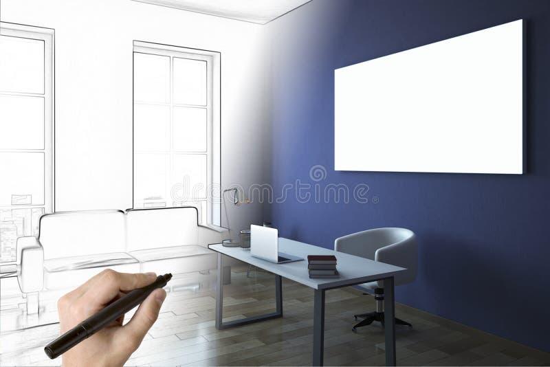 Hand, die blauen Büroinnenraum zeichnet vektor abbildung