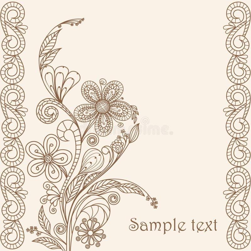 Hand die bloemenpatroon trekt royalty-vrije illustratie