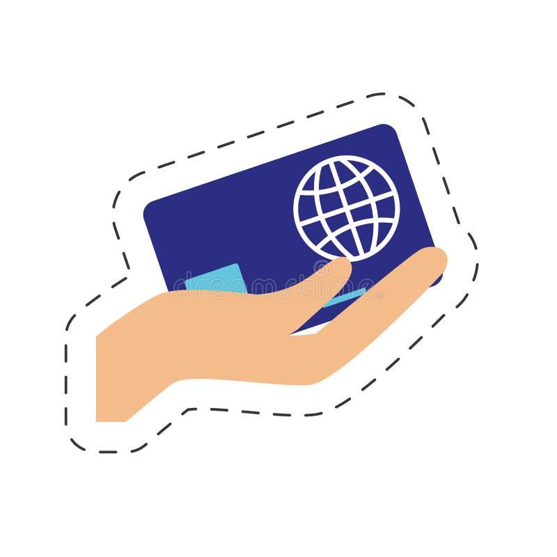 Hand, die das Kreditkarteon-line-Einkaufen hält stock abbildung