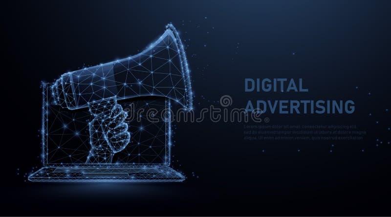 Hand, die das Megaphon herauskommt vom Laptop h?lt Digital-Marketing, -Social Media, -netz und -Werbekonzeption vektor abbildung