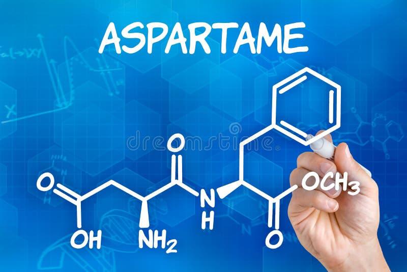 Hand die de chemische formule van aspartame trekken royalty-vrije illustratie