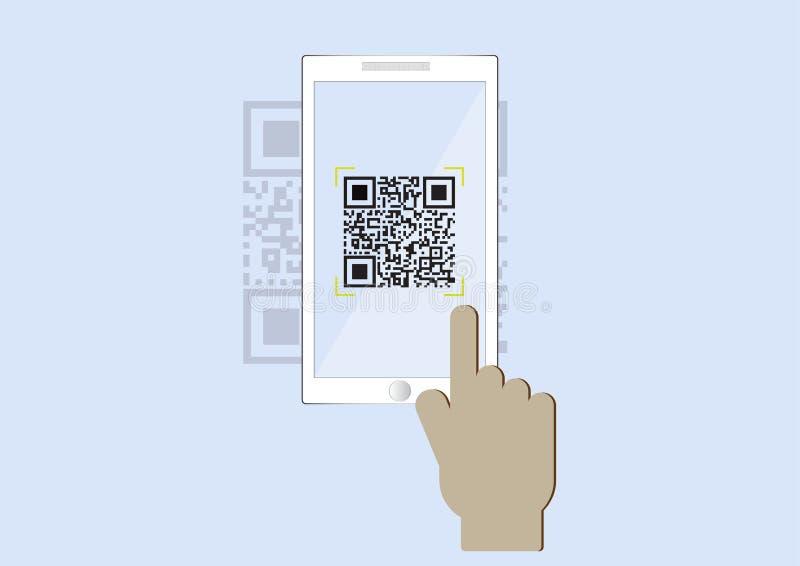 Hand die de code van het smartphoneaftasten QR inzake blauwe achtergrond gebruiken stock illustratie