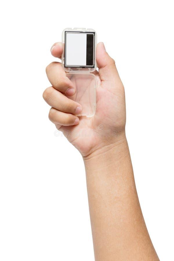 Hand die de Compacte Kaart van het Flitsgeheugen houden stock foto's