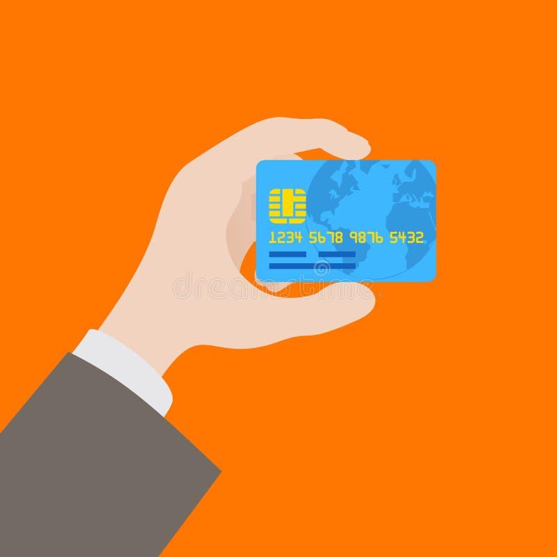 Hand die de creditcard houden vector illustratie