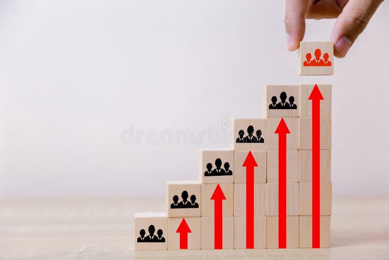Hand die de houten ladder van het kubusblok zetten aan het hoogste, menselijke middelbeheer en rekruterings het bedrijfsconcept,  royalty-vrije stock afbeelding
