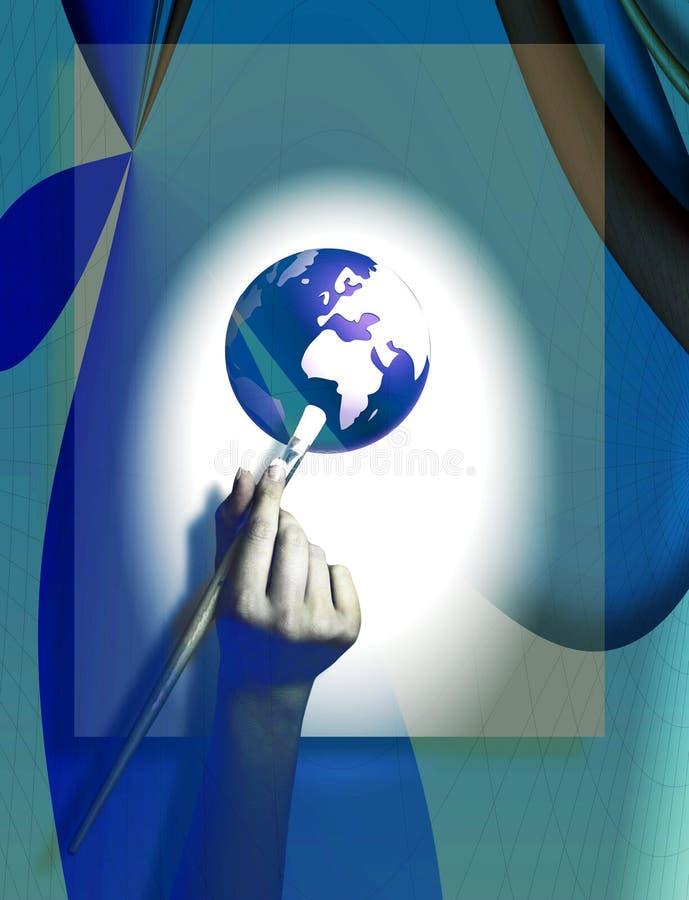 Hand die de Wereld, de Symbolische Foto van Aard en Environmen schildert vector illustratie