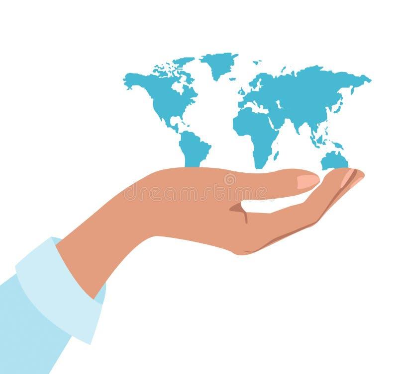 Hand die de wereld houdt royalty-vrije illustratie