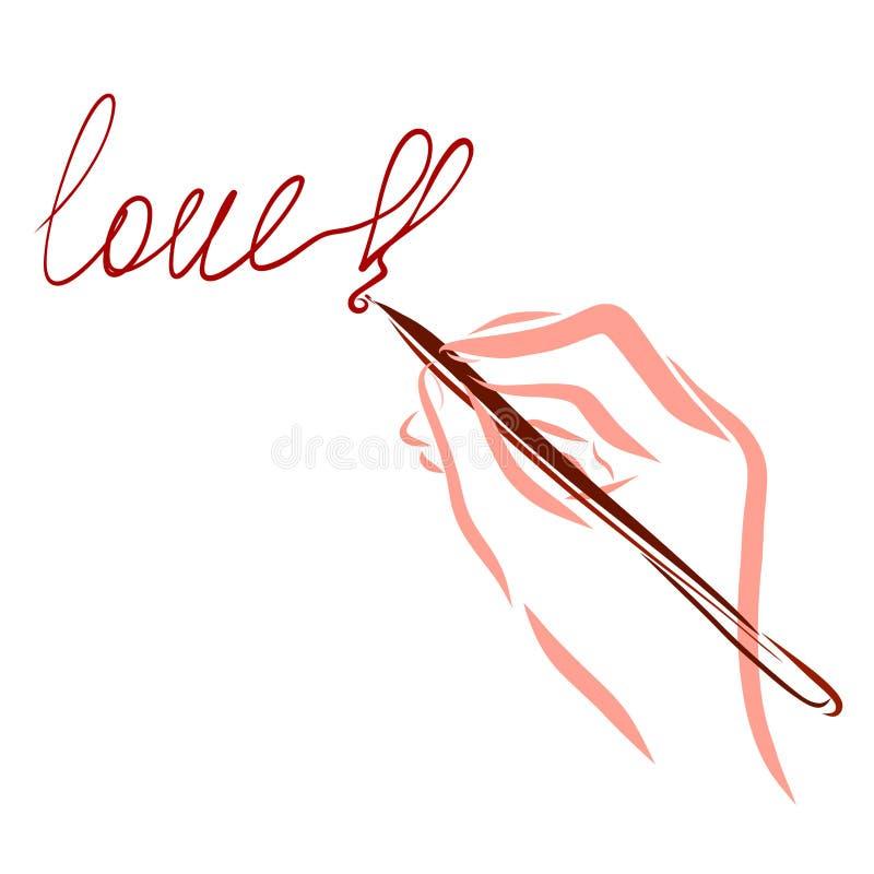 Hand die de woordliefde, uitroepteken in de vorm van schrijven stock illustratie