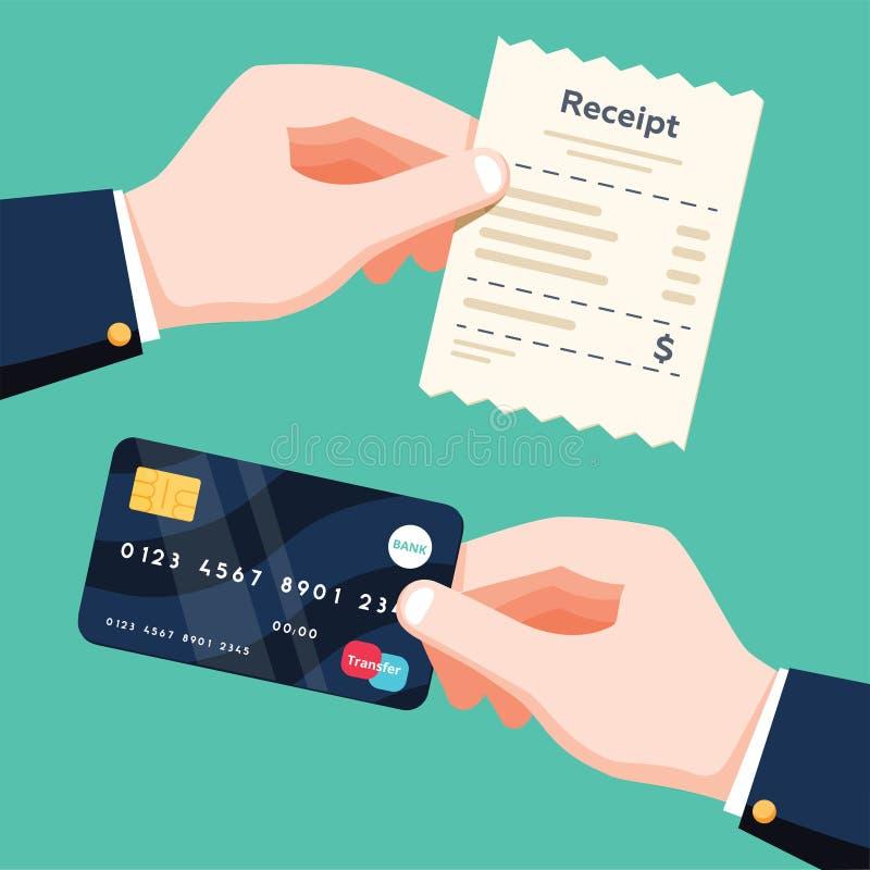 Hand, die den Empfang halten und Hand, die Kreditkarte hält Konzept der bargeldlosen Zahlung Flacher lokalisierte Illustration de vektor abbildung