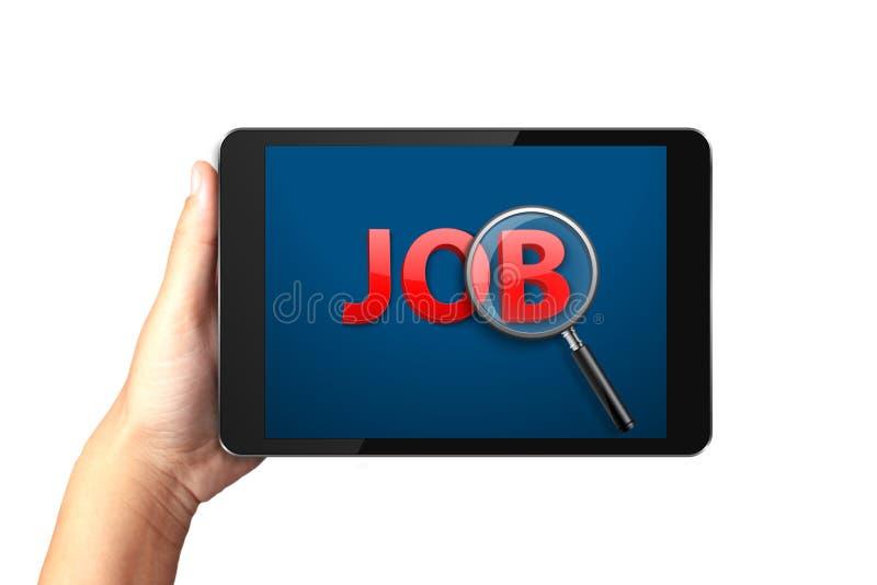Hand die digitale tablet met Baanonderzoek houden op vertoning stock foto's