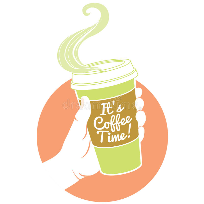 Hand, die dispossable Kaffeetasse hält Pappabdeckung mit Text stock abbildung