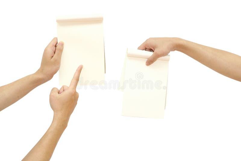 Hand die document richt stock fotografie