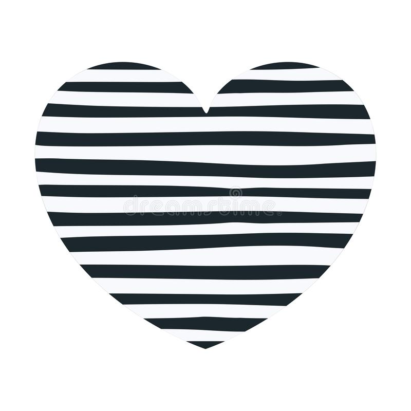 Hand die donkerblauwe lijnen in decoratieve hartvorm trekken stock illustratie