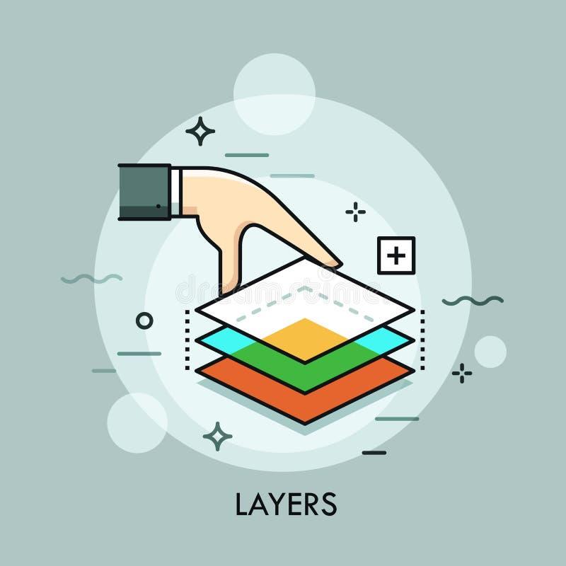 Hand die drie doorzichtige lagen houden Gelaagde grafiek, digitale ontwerpsoftware, beeld het uitgeven, visuele gevolgen, wijzen vector illustratie