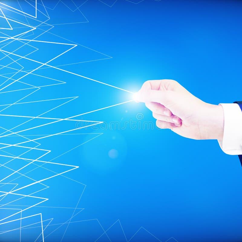 Hand die driehoekig patroon slepen royalty-vrije stock afbeelding