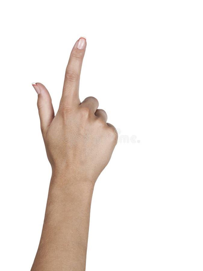 Hand die drukkend een knoop simuleert Geïsoleerd op wit stock afbeeldingen