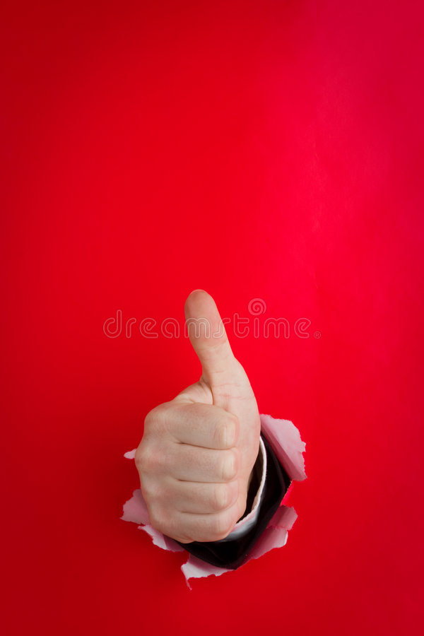 Hand die duimen op rood opgeeft royalty-vrije stock afbeeldingen