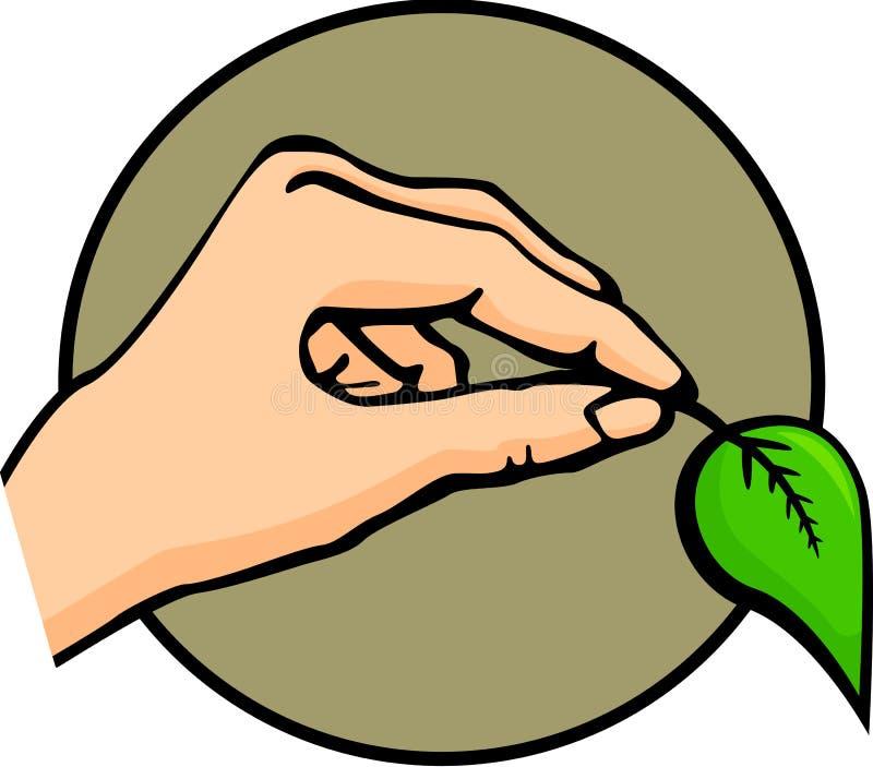 Hand die een blad houdt vector illustratie