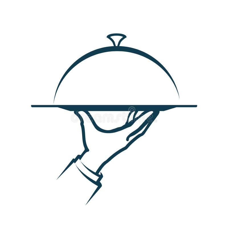 Hand die een dienblad houden Menu, de dienstembleem Vector illustratie vector illustratie