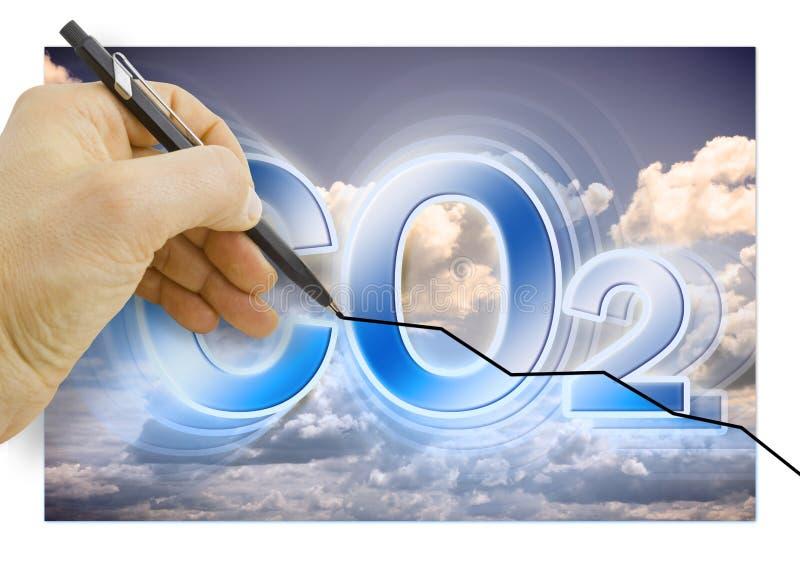 Hand die een grafiek over Vermindering van Co2-aanwezigheid in atmo trekken stock afbeeldingen