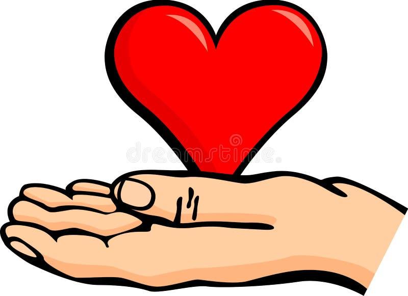 Hand die een hart houdt royalty-vrije illustratie