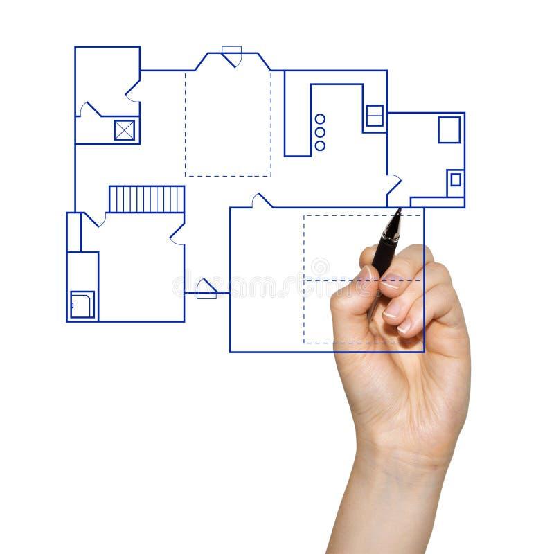 Hand die een huisblauwdruk trekt stock afbeelding
