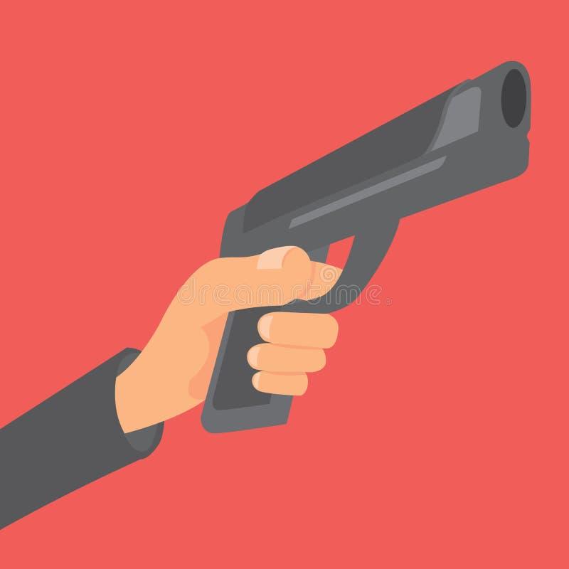 Hand die een kanon en het streven houden vector illustratie