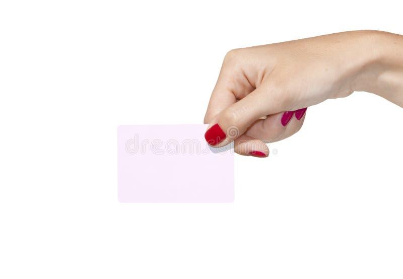 Hand die een leeg adreskaartje houdt stock afbeelding
